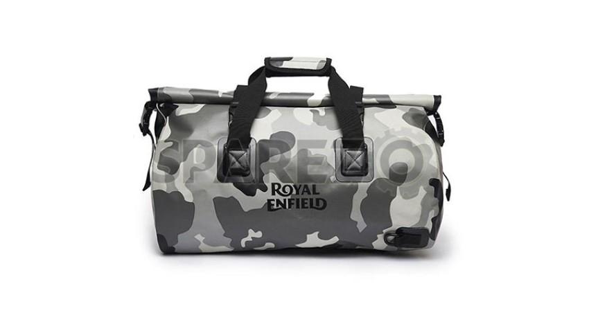 7c87916a1 Genuine Royal Enfield Fusillade Rainproof Duffel Bag Camo Grey - Sparezo