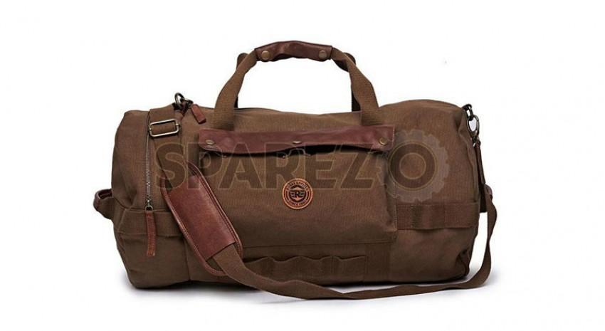 8237a51cf Genuine Royal Enfield Flying Flea Duffel Bag Khaki Brown - Sparezo