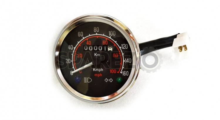 Vintage Royal Enfield Speedometer Assembly Mph Km Black