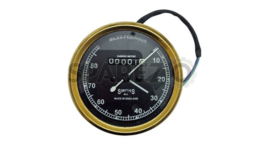 SMITHS SPEEDOMETER 10-120 Mph REPLICA ROYAL ENFIELD BSA NORTON BLACK FLAT