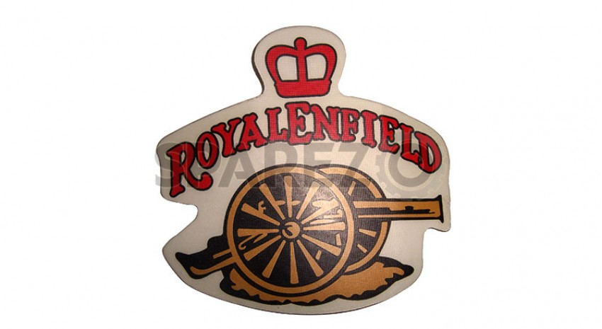 16b40b2a14d Royal Enfield Crown And Cannon Red Golden Sticker - Sparezo