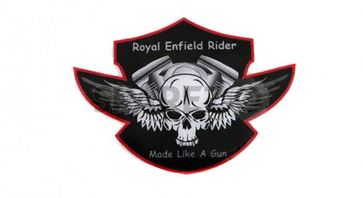 royal enfield rider made like gun skull feather sticker set