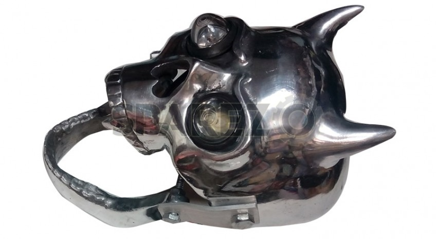 Royal Enfield Chopper Bobber Skull Head Light With Blue