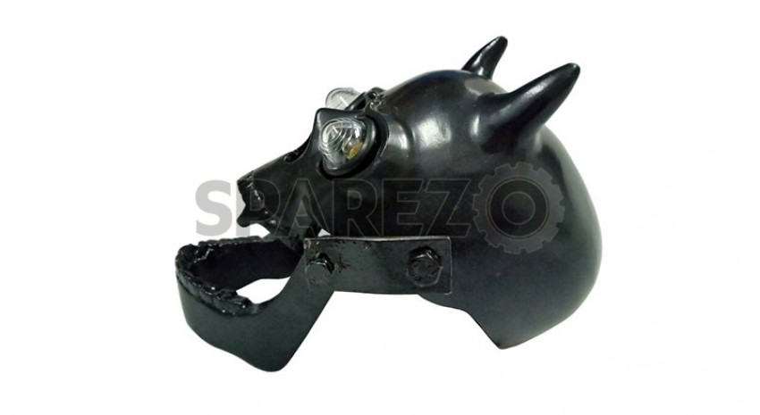 New Royal Enfield Chopper Bobberr Skull Headlight Black